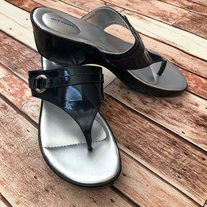 Lands' End Navy Patent Sandals 10W